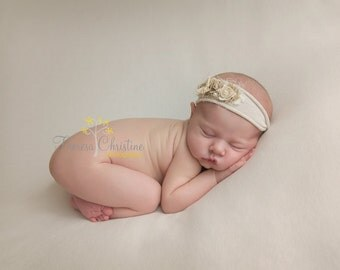 Neutral vintage inspired newborn tieback. newborn photo prop. photo prop. newborn tie back.
