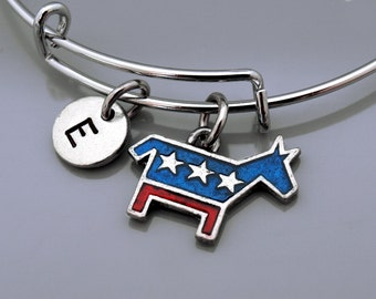 Democratic Party Donkey logo bracelet bangle, Democrat donkey, Democratic donkey logo, donkey party logo, Presidential election, monogram