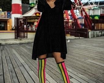Olivia Black Velvet Hooded Swing Dress