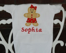 Baby Girl Gingerbread Christmas Bodysuit! Gingerbread Christmas outfit for baby girls/ Girls Christmas Shirt/Gingerbread Christmas Shirt