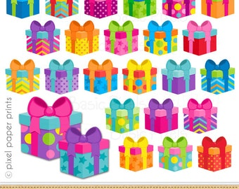 Gift clipart- Digital Clip Art - Colorful gifts - Personal and commercial use