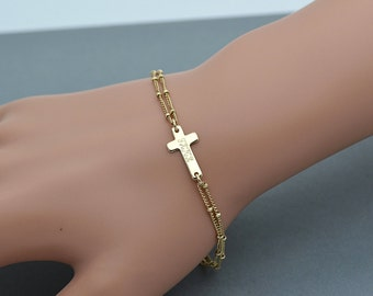 Personalized Cross Bracelet, Sideways Cross Bracelet, Faith Bracelet, Silver, Rose Gold and Gold Bracelet, Engraved Gold Bracelet