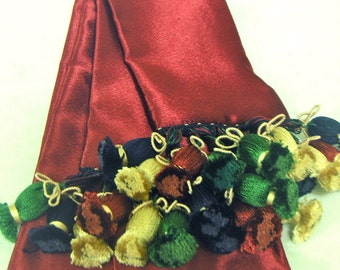 Dark Red Polyester Satin-back Crepe Sash w/Red, Navy, Green, Beige Turkish Tassels for Pirate, Ren Faire, Cosplay