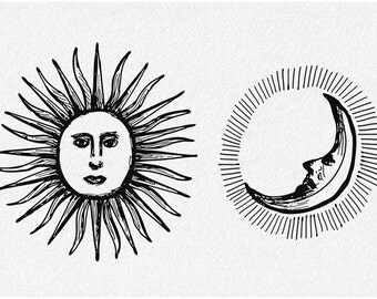 Sun and Moon note card, any occasion card, blank greeting card suitable for framing, day and night, antique woodcut style art print