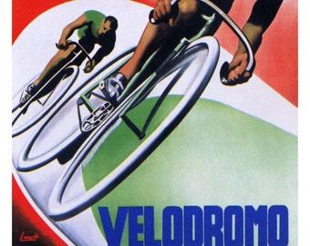 Vintage Velodromo Comunale Vigorelli Poster, Bicycle Race Advertising, Bike Racing, Milan, Italy