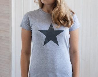 Black Star T Shirt Minimalist Abstract Geometric Skater Fashion Retro Graphic Design Screen Printed Womens Ladies Tee or Tank Top Vest Cami