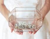 Jewelry Organizer, Glass Display Box, Makeup Storage, Geometric Glass Box, Small Card Box, Wedding Guestbook Alternative, Wishing Well Box