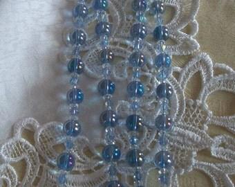 "Blue Aurora Glass  Necklace     -     34 """