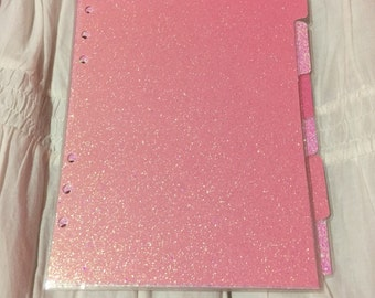 Light pink and bubblegum pink a5 planner dividers glitter laminated handmade sparkly, top quality