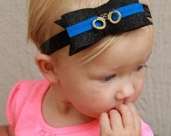 Felt Glitter Bow with Cuffs-Thin Blue Line Police Officer Kid Police Baby Girl Headband Thin Blue Line Bow Law Enforcement Police Headband