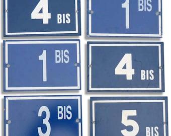 "Plate metal house number ""BIS"" - french door number."