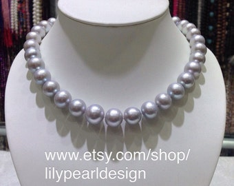 13~14mm gray freshwater pearl necklace,big size pearl necklace