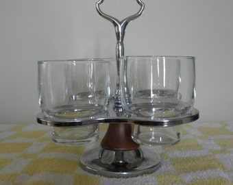 Mid Century Danish Modern Chrome & Glass Condiment Set