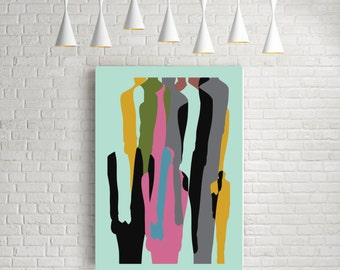 Pop art print, pop art poster, pop art, abstract art prints, bright colours, bright art, modern print, bright wall art, print, poster, Crowd