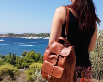 Leather Backpack Women, Genuine Leather Rucksack - Satchel. Handmade in Greece.