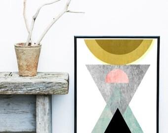 Abstract Art Print, Printable Art, Mid Century, Scandinavian Design, Geometric Art,  Minimalist Art, Abstract Wall Art, Digital Download