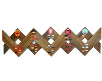 Teak Wood Modern Scandinavian Wall Art Made with Colorful Punched Paper Flower Bulbs