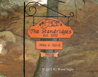 Campsite Name Sign  Redwood Cedar  Family Name Sign w 1 Addon - with RV Sign Holder JG Wood Signs Etsy Family Camping Sign Standridge