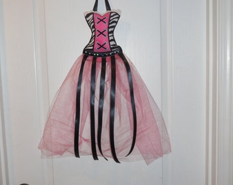 Hair Bow Organizer, Tutu Hair Bow Holder- Hot Pink and Zebra