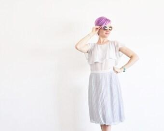 sheer gray crepe skirt . crisp pleated high waist . delicate and lovely .medium .sale s a l e