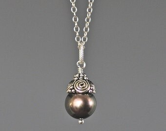Copper Pearl Necklace - Single Pearl Necklace - Bali Silver Pendant - Pearl Pendant Necklace - Bridal Jewelry - Single Pearl - Gift for Her