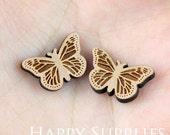 4pcs (SWC100) DIY Laser Cut Wooden Butterfly Charms