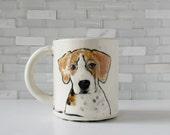 Coonhound Mug | treeing walker coonhound gift | coffee mug tea cup | pet portrait | pet mug stoneware ceramic clay | made to order