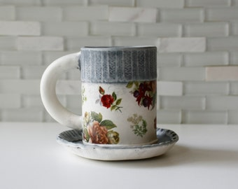 Espresso Mug | coffee mug tea cup with saucer | matte glazes with floral decals | sweater cuff wallpaper design | made to order