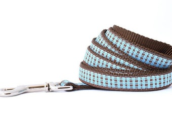 Blue Plaid Dog Leash -Plaid Leash - Leash - Dog Leash