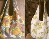 Flower power shoulder bag  - 50s barkcloth - fully reversible, 2 styles, proceeds to charity