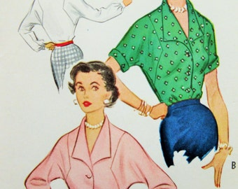 Vintage McCall's 9518 Sewing Pattern, 1950s Blouse Pattern, Kimono Sleeves, Bust 30, 1950s Sewing Pattern, Vintage Sewing Supply 50s fifties