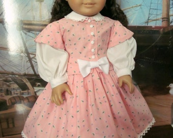 American Girl Doll Clothes, Historical Dress, Civil War Dress, 18 Inch Doll Clothes