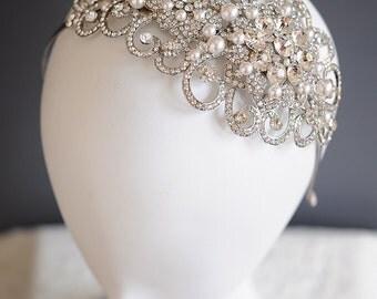Victorian Wedding Bridal Headband, Swarovski Pearl Cluster Hair Accessories, Flower Leaf Headpiece, Vintage Style Hair Jewelry, PARNELLA