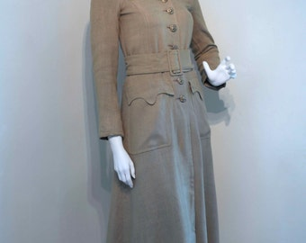 Vintage 1960s BIBA late 60s Military Style Coat // Slim Fit // Wide Belt and Gold Metal Buttons