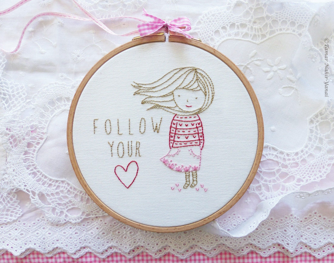 Inspirational gift modern hand embroidery