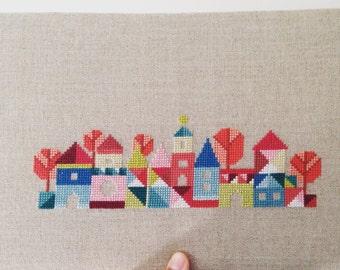 Pretty little village - modern cross stitch pattern - PDF instant download