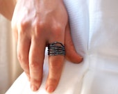 Oxidized Silver Ring - Black Wide Band Ring- Metal Work - Free Formed Hand Hammered Thick Wires-  Custom Made to Your Size - Art Jewelry
