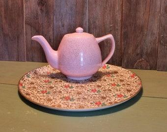 Pink Ceramic Teapot Bauer Mid Century Speckled Tea Pot Serving Housewares Vintage 1960s 60s (A)