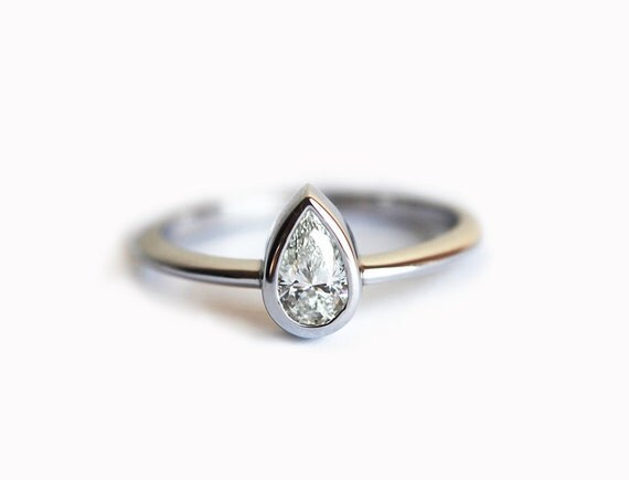 14k Gold Diamond Ring Pear Engagement Ring Engagement