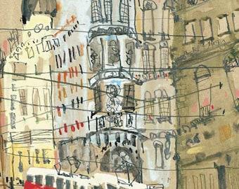 PRAGUE TRAM ART, Czech Republic Print, Red Tram Watercolor Painting, Prague Street Scene, Czech Painting, Old Town Square, Baroque Buildings