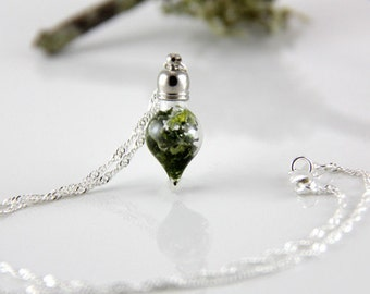 Vial Necklace - Terrarium  Necklace - Dainty Necklace - Woodland - Moss Necklace - Real Flower Necklace - Sterling Silver Necklace