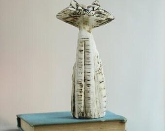 Ceramic Cat - White Ceramic Cat - Art Ceramic Miniature - Home Decoration.