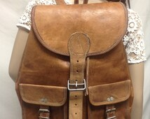 Free ship Large Leather Backpack Brown