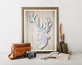 Deer Head Printable, Deer Digital Download, Deer Head, Deer Decor, Deer Print, Deer Decor, Deer Head, Cabin Decor, Deer Printable 0222