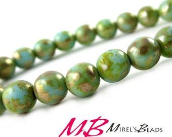 25 6mm Turquios Picasso Druk Beads, Czech Round Druk Beads