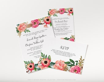 Printable Rustic Wedding Invitation, Pink Floral Wedding Invitation Suite With Invite, RSVP and Detail Card, Floral Wedding Invites