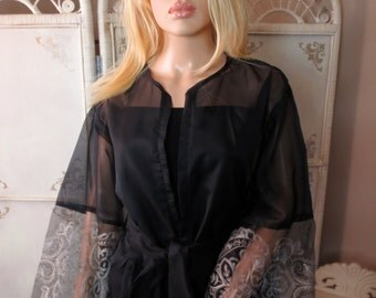 Sheer Black Robe With Silver Embroidery Size Medium