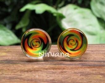 "Zig Zag Rasta on Clear Glass Plugs 6g 4g 2g 0g 00g 7/16"" 1/2"" 9/16"" 5/8"" 3/4"" 1"" 4mm 5 mm 6 mm 8 mm 9.5 mm 10 mm 12 mm 14 mm 16 mm - 25 mm"