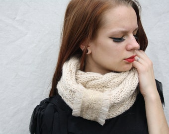 Long scarf Loop shawl Cable scarf One size fits all Knit long scarve Women's Beige scarf Snood scarf Knit scarf Romantic scarf Gift for her