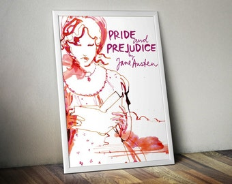 Pride and Prejudice Poster - Literary Prints, Literary Gifts, Book Lover Gift, Pride and Prejudice Prints, Pride and Prejudice Art, Book Art